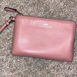 Coach Corner Zip Wristlet Wallet Petal Pink